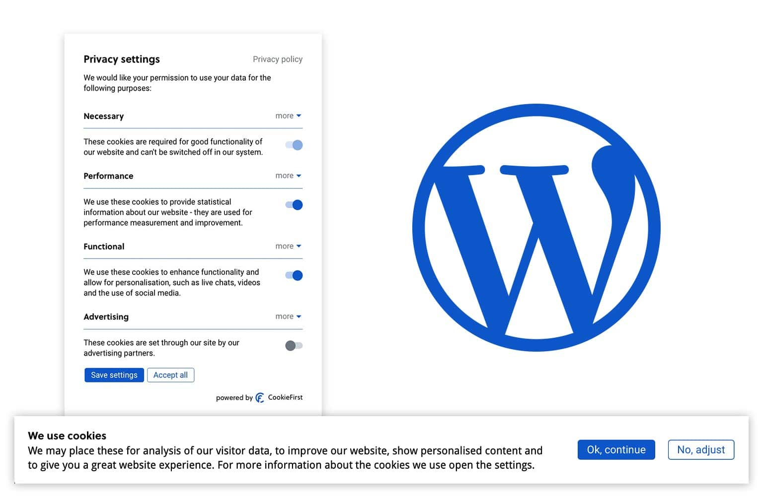 WordPress Cookie Consent | CookieFirst has a WordPress plugin available