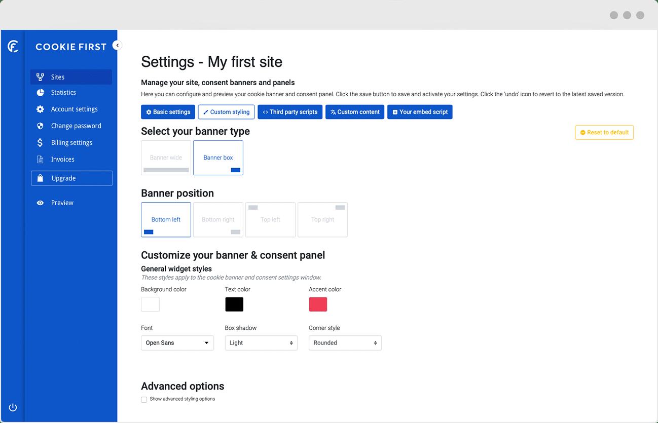 Consent Management Platform - Banner and panel customisation