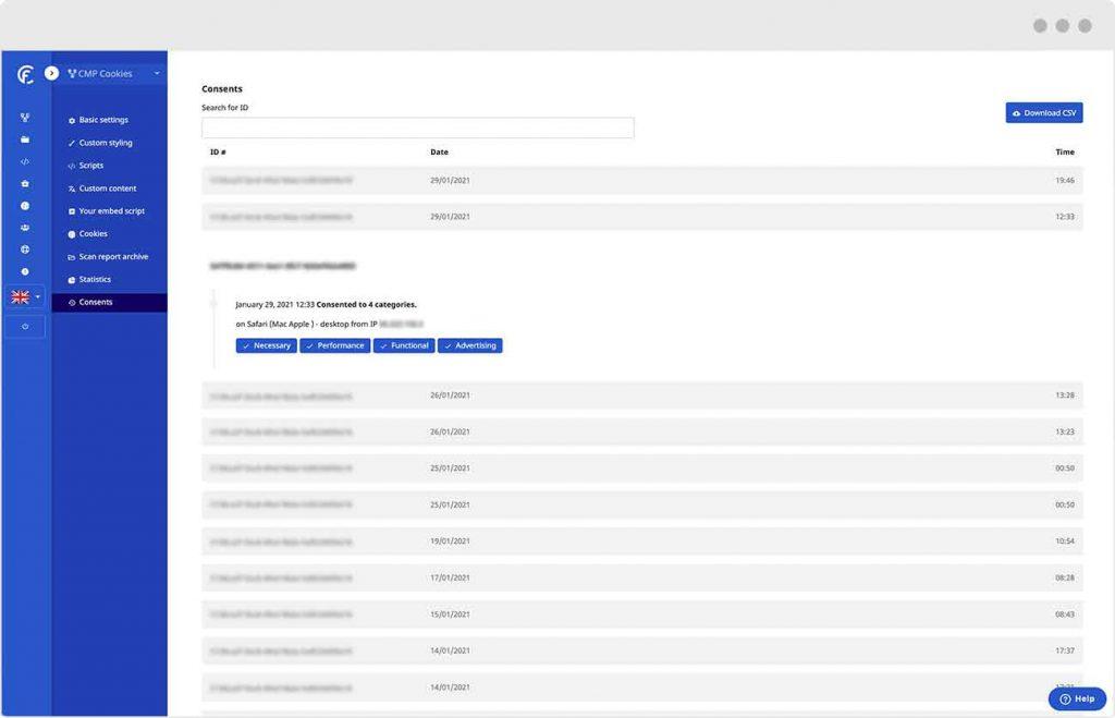 Como uma alternativa Usercentrics CookieFirst oferece registro de consentimento e trilhas de auditoria de consentimento a fim de fornecer prova de consentimento.