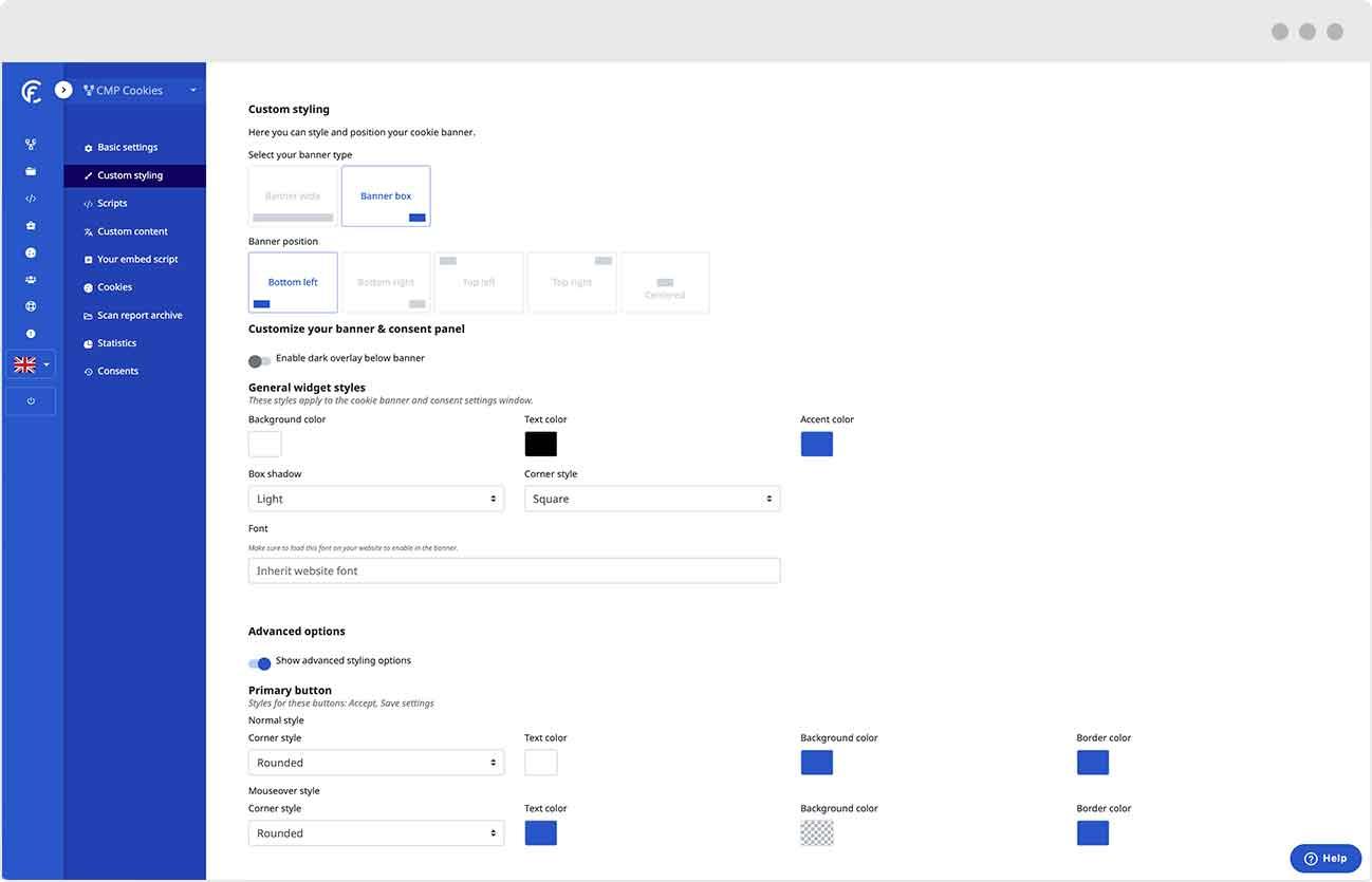 Puoi configurare il layout e lo stile personalizzato del tuo cookie banner